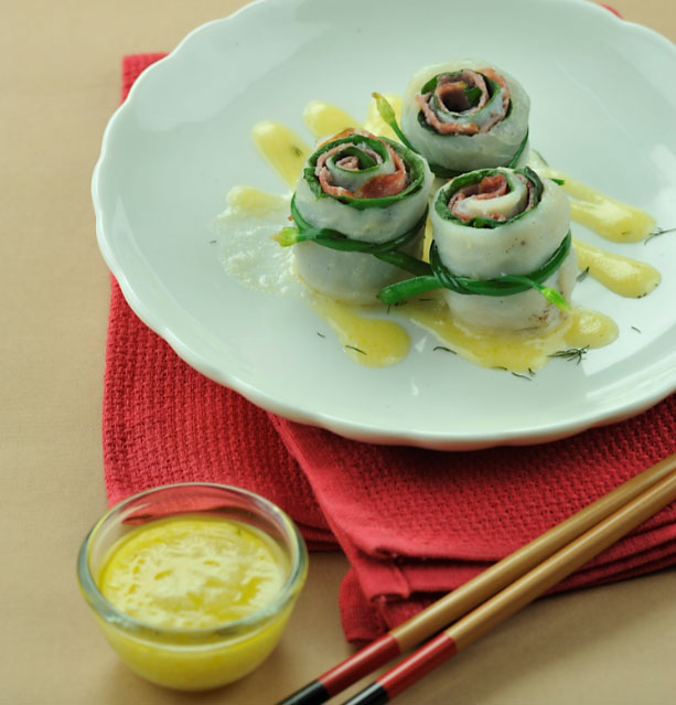 supreme fish spinach roulade with dill lemon sauce