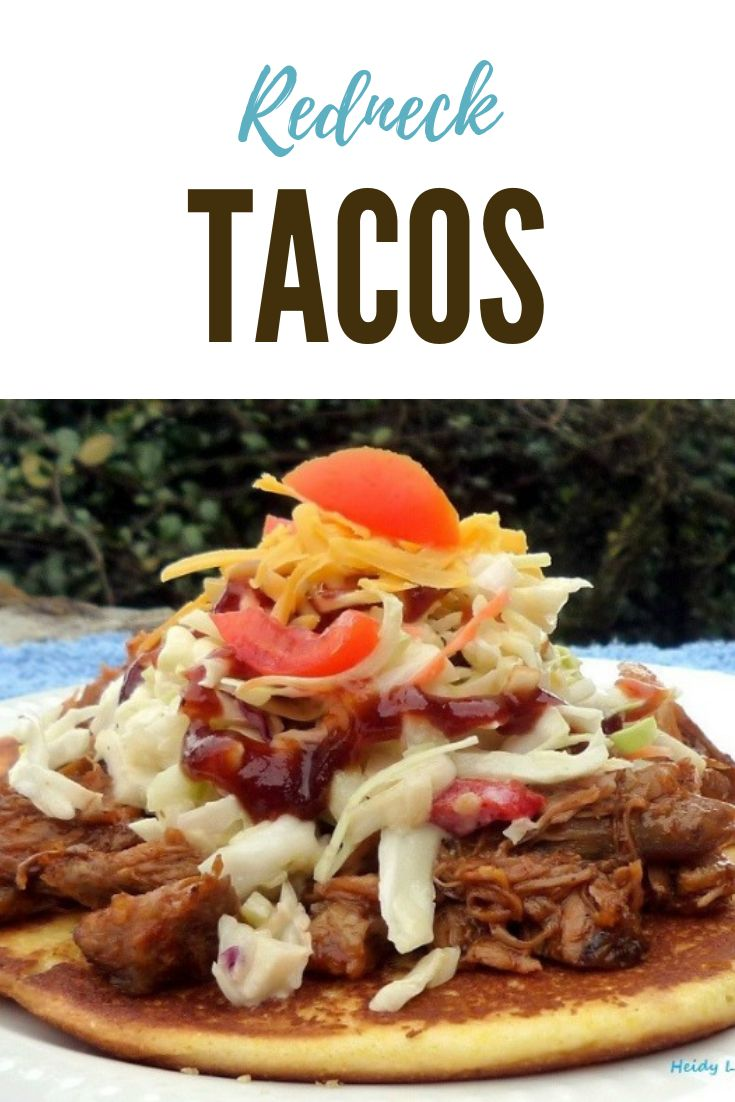 Red Neck Tacos are a far cry from the traditional Tacos that you and your family are used to having, made with tender delicious flavorful Pulled Pork doused in the finest barbecue sauce, resting on a delicious corn cake, topped with homemade crunchy coleslaw, fresh ripe tomatoes, and cheese.