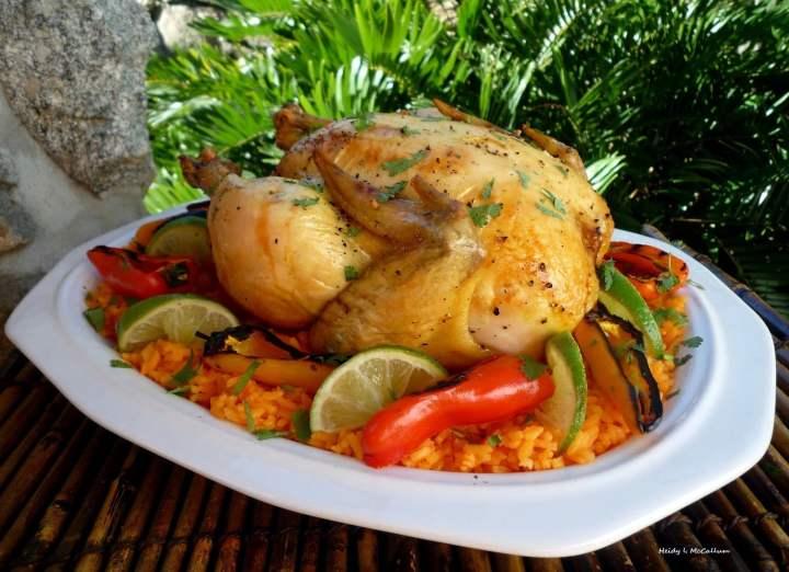 Corona Lime pollo con arroz de naranja