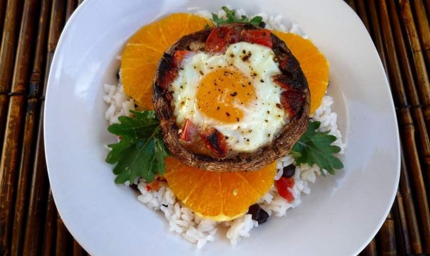 Portobello Mushrooms with Eggs and Chorizo over Rice