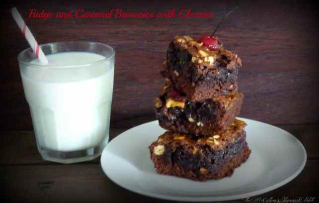 Fudge and Caramel Brownies with Chocolate