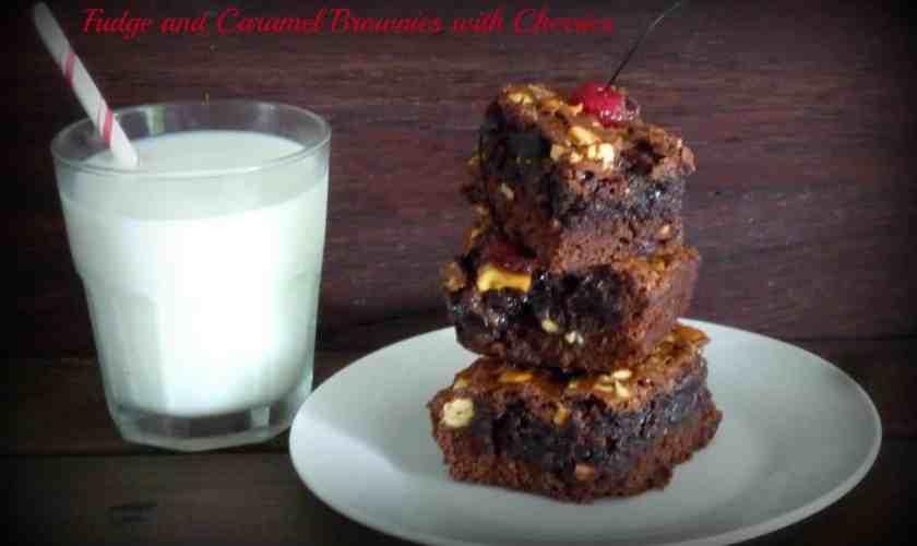 Fudge Caramel Brownies with Maraschino Cherries