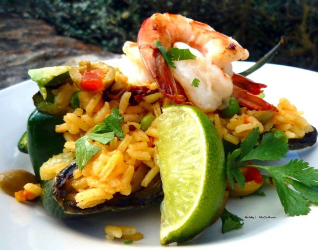 Poblano Peppers stuffed with yellow rice and grilled shrimp_Heidy L. McCallum_The McCallum's Shamrock Patch