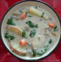 This warm comforting Potato Spinach Soup with Italian Sausage is perfect for lunch or dinner. Serve it with a warm fresh crusty Italian bread, or wonderful French baguette, both are guaranteed to be a fantastic addition to your Homemade Potato & Spinach Soup with Italian Sausage.