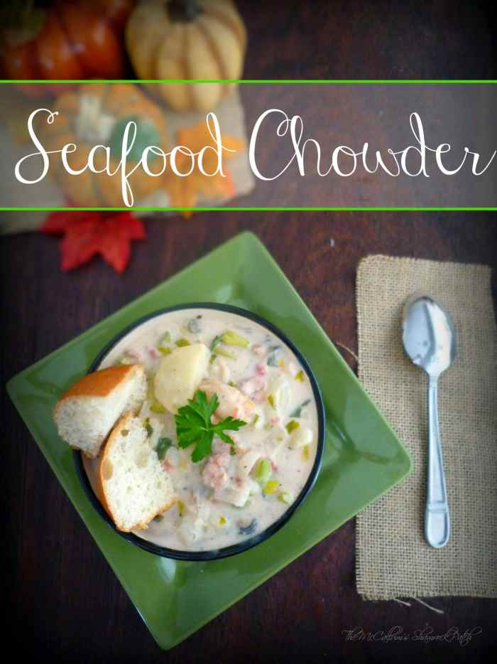 Grab your favorite bowl and help yourself to a few ladles of thick, rich, creamy Seafood Chowder to warm your heart and belly with an almost decadent combination of red potatoes, celery, shrimp, lobster, fish, scallops, crab, clams, and oysters. I can promise you if you enjoy seafood this remarkably simple easy to follow a recipe for Seafood Chowder is going to make your day.