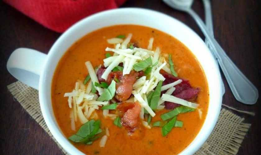 Tomato Basil Soup with Asiago & Bacon