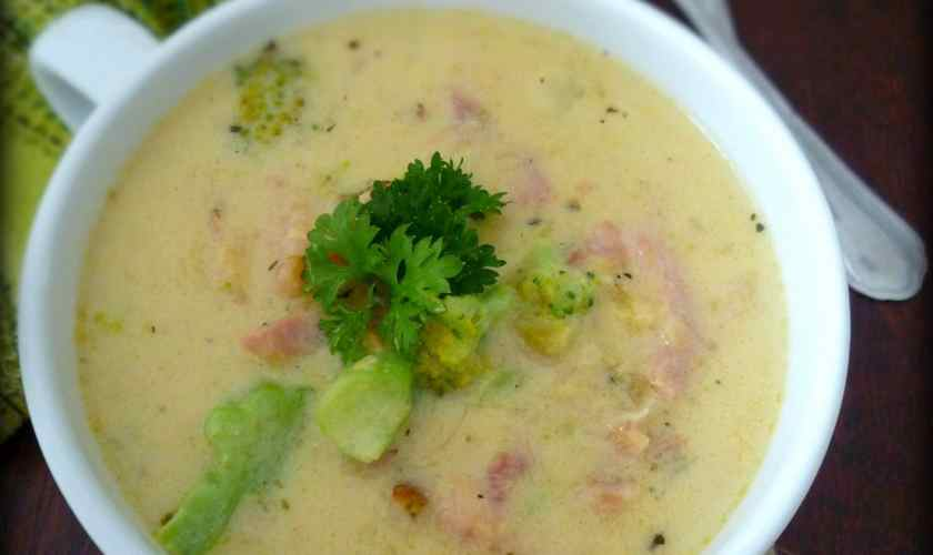 Broccoli Cheese Soup with Smoked Ham