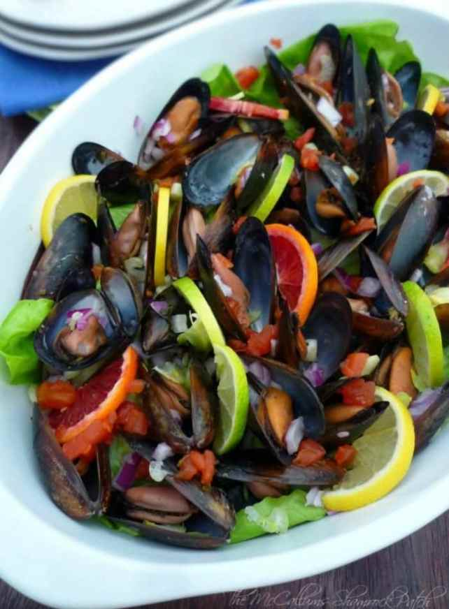 Mussels in Red Wine and Citrus