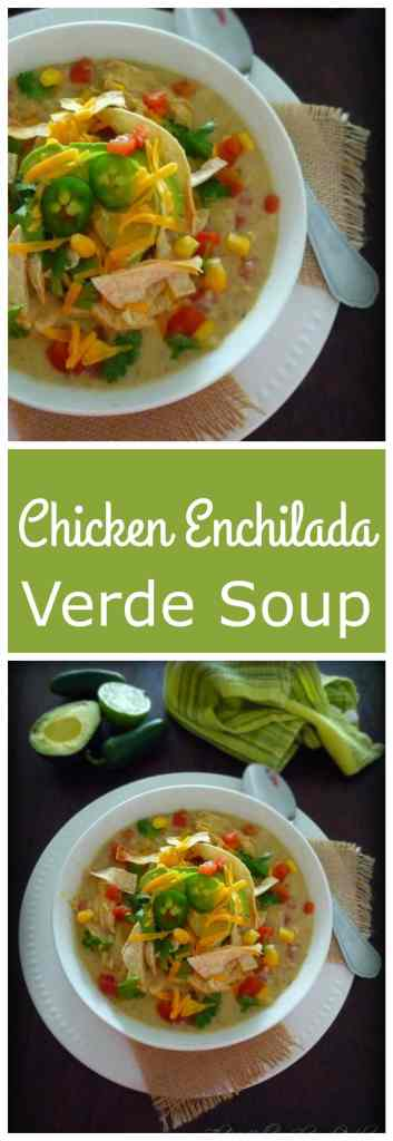 Chicken Enchilada Verde Soup wasinspired by my Chicken Enchilada with Verde Sauce recipe made with shredded chicken breast, fresh tomatillos, cloves of garlic, jalapeno, green chile peppers, fresh diced tomatoes, sharp cheddar cheese, cilantro, and lime and topped with sour cream, chopped cilantro, homemade tortilla strips and diced avocado.