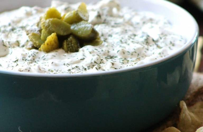 Dill Pickle and Garlic Chip Dip