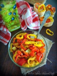 Fresh Italian Peppers in Olive Oil is perfect to compliment your next Italian meal. Every Italian family has their own version of this delicious Italian recipe and I have modified our original family recipe for a fresh taste every time. Combining multi-colored mini sweet peppers, fresh cloves of garlic, hot pepper, andgarlic infused olive oil and seasoned with Italian herbs without all the fuss and worries of canning in oil.