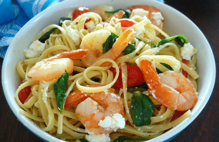 Linguine with Shrimp Spinach & Goats Cheese