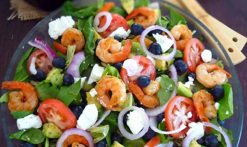 Shrimp Blueberry Salad with Goat's Cheese