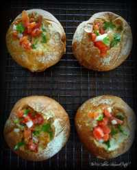 Baked Eggs in a Bread Bowl with fresh salsa