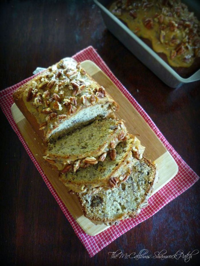 There's nothing in this world that compares to this delicious, moist Southern-Style Banana Pecan Bread that pops with a ton of banana flavor decadently smothered with Homemade Caramel icing and chopped Georgia pecans.