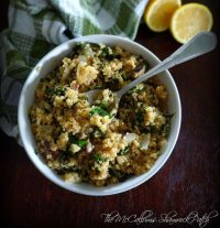 Quinoa and Spinach Pilaf with Cremini Mushrooms