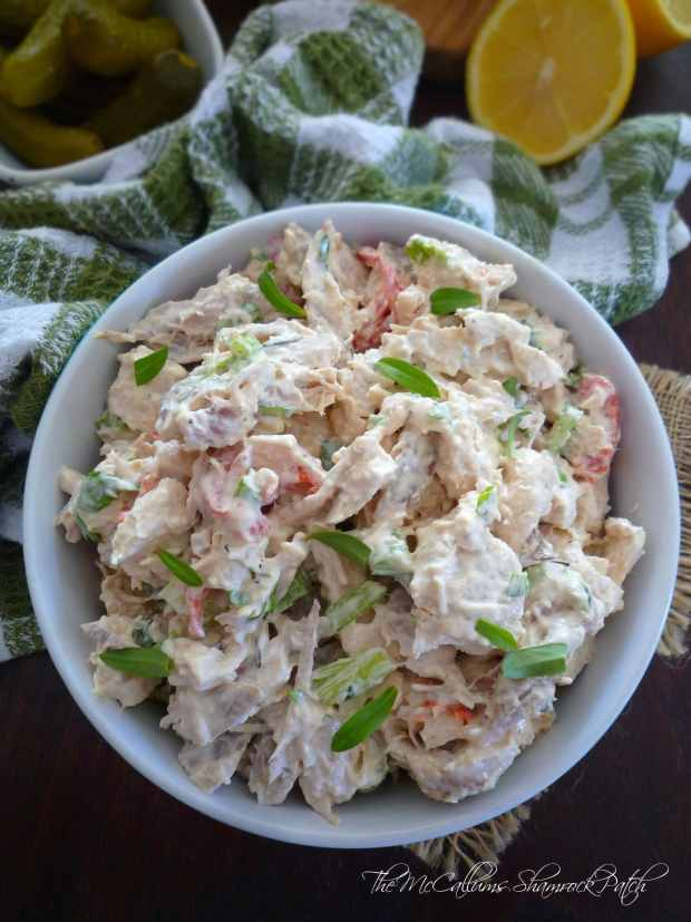 Lemony Tarragon Chicken Salad it has a clean fresh taste, with a positive upside; Lemony Tarragon Chicken Salad is so easy to make in a matter of minutes; combining diced chicken breast meat, freshly roasted chopped red peppers, crisp green celery, chives, mayonnaise, freshly squeezed Florida lemon juice, garden fresh Mexican tarragon, a little kosher salt and freshly ground peppercorns.