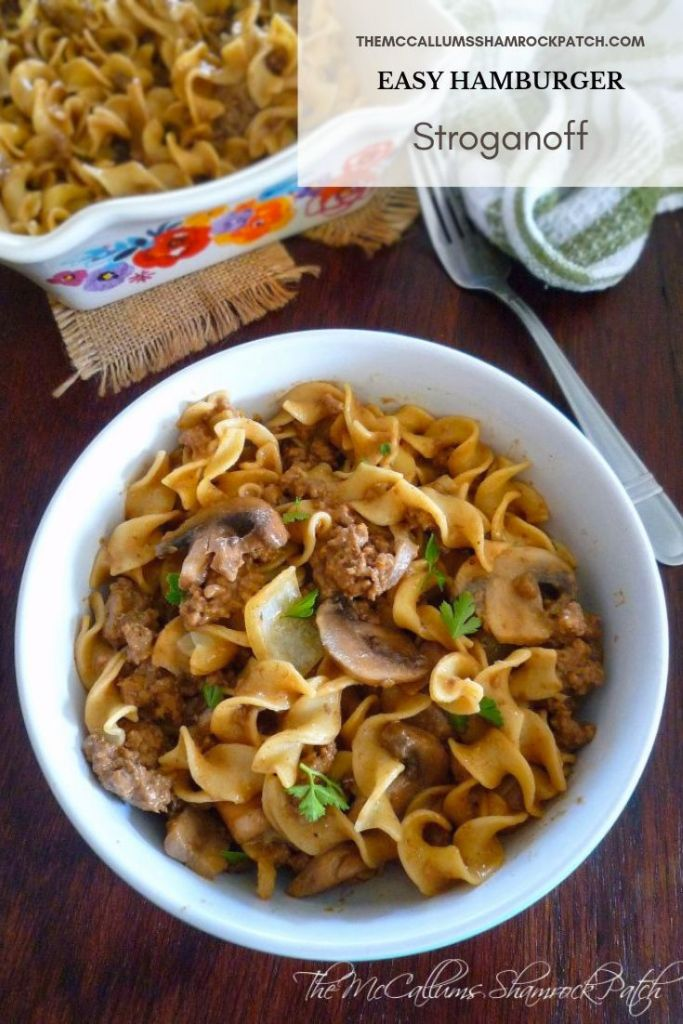 Easy Hamburger Stroganoff is the simple weekday comfort food that you can make in a little of no time;  Hamburger Stroganoff is one of my favorite, easy, economical, lazy night, comfort dinners made from lean ground beef, white mushrooms,  sweet Vidalia onions, wide egg noodles and a creamy homemade sauce that's base has absolutely no canned soup added to it.