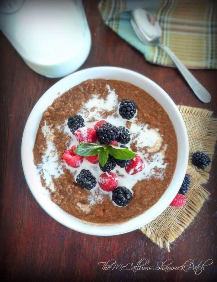This beautiful Southern Chocolate Grits n Berries recipe is so simple to make and delicious you're going to wish you had made it sooner. You are combining delicious ripe fresh berries, grits, cocoa powder, pure vanilla, a touch of granulated sugar and cream for a breakfast that's hearty, filling, and ready to eat in no time flat.