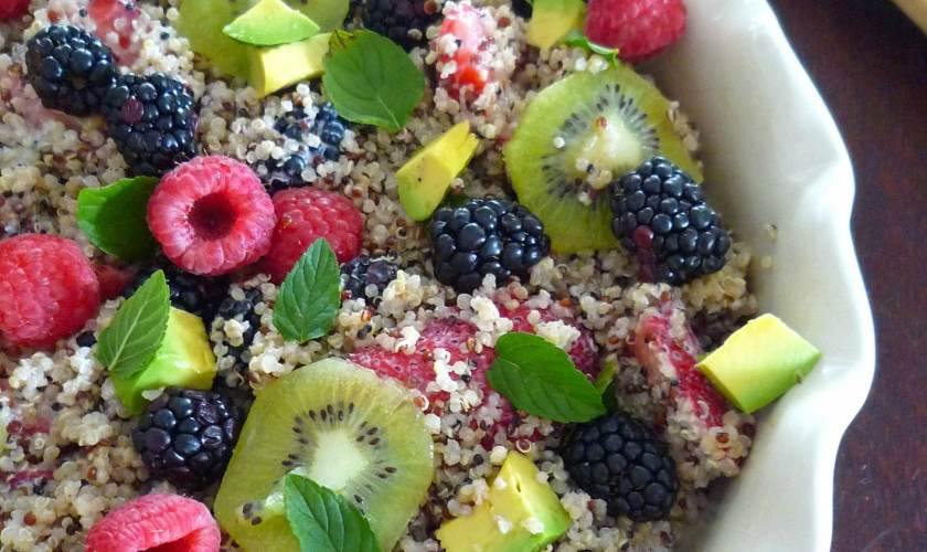 Fruit and Quinoa Salad with Yogurt Dressing