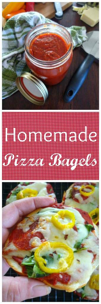 Homemade Pizza Sauce and Pizza Bagels are a perfectly quick way to have a delicious Pizza snack or lunch for the kids or even adults, ready in no time flat. The Homemade pizza sauce can be frozen or canned if desired for future Pizzas or snacks for your family or friends. Made with organic tomato products and dried Italian spices to make it a healthy and delicious recipe to enjoy with your family anytime.