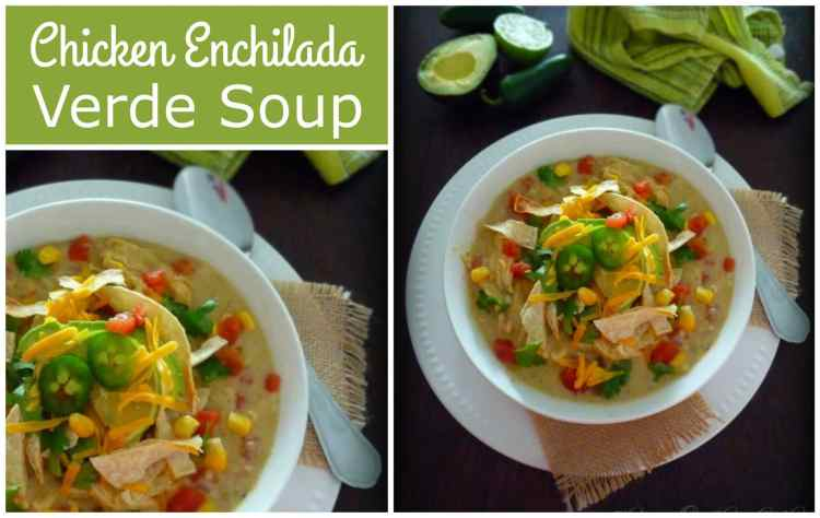 Chicken Enchilada Verde Soup was inspired by my Chicken Enchilada with Verde Sauce recipe made with shredded chicken breast, fresh tomatillos, cloves of garlic, jalapenos, green chile peppers, fresh diced tomatoes, sharp cheddar cheese, cilantro, and lime and topped with sour cream, chopped cilantro, homemade tortilla strips and diced avocado.
