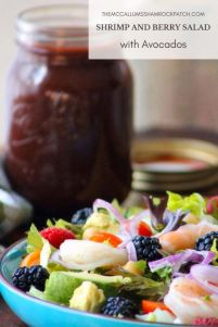 Shrimp and Berry Salad with Avocados is a super simple, addictive, deliciously, healthy, lunch or light dinner idea you can readily make in no time flat with fresh ingredients such as crisp romaine lettuce, succulentgulf shrimp, red tomatoes, red onions, chickpeas, ripened avocados, juicy raspberries, and sweet blackberries.