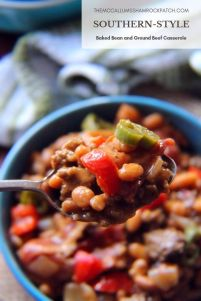 Southern Baked Bean and Ground Beef Casserole is another iconic Southern covered dish our family loves to share at family functions, Church Potlucks, picnics and even on some of the springand summer Holiday gatherings.