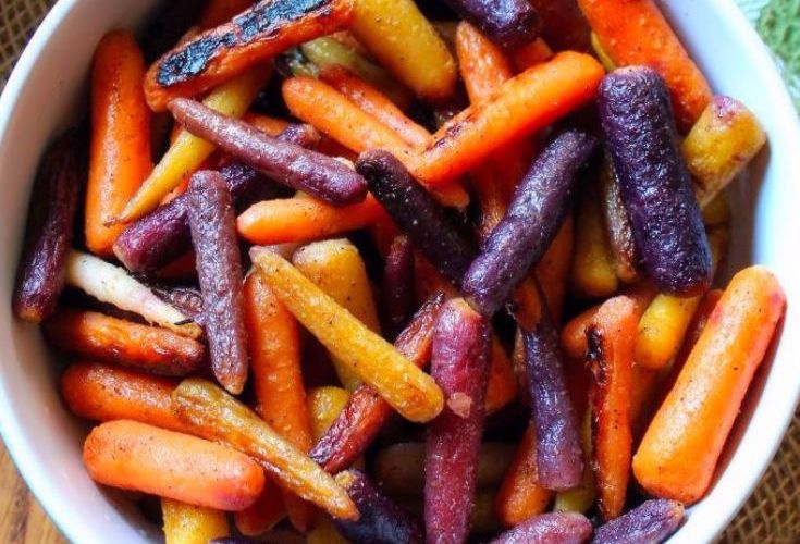 Roasted Rainbow Carrots with Honey and Lime