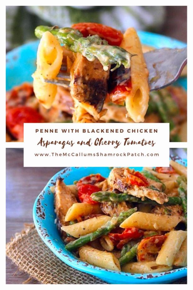 Penne pasta, blackened chicken, roasted asparagus, and cherry tomatoes covered in a thick, rich, creamy alfredo sauce make this Penne with Blackened Chicken, Asparagus, and Cherry Tomatoes recipe such a deliciously flavorful dish for the family dinner table.