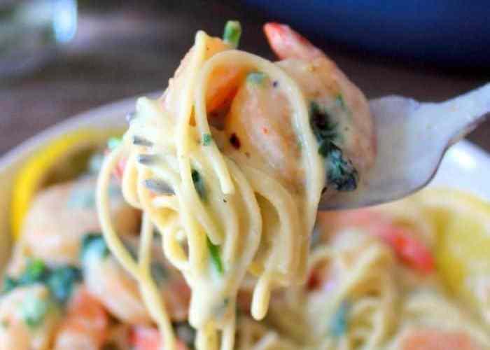 Lemon Ricotta Pasta with Shrimp