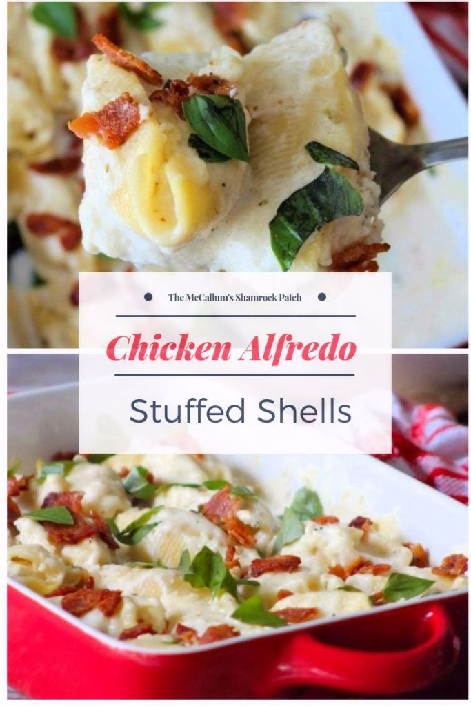 Chicken Alfredo Stuffed Shells are so creamy, delicious, flavorful, and easy to make. Stuffed with chicken breast, Ricotta, Parmesan, and topped with a creamy Homemade Alfredo sauce, these stuffed shells are perfect for company or just a quick weeknight dinner.