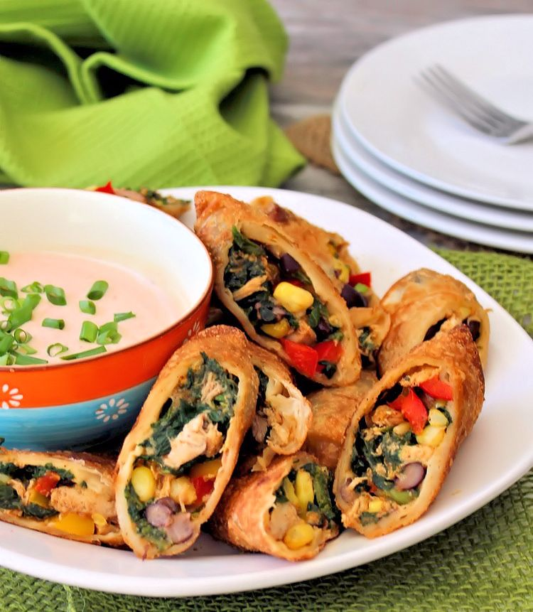 These aren't your ordinary plain Jane eggrolls, folks, these are deliciously flavorful Crispy Southwestern Egg Rolls, made with chicken, black beans, corn, jalapeño peppers, Colby Jack cheese, red sweet bell peppers, and spinach. Served with a bold Chipotle Ranch dipping sauce that you are going to absolutely love.