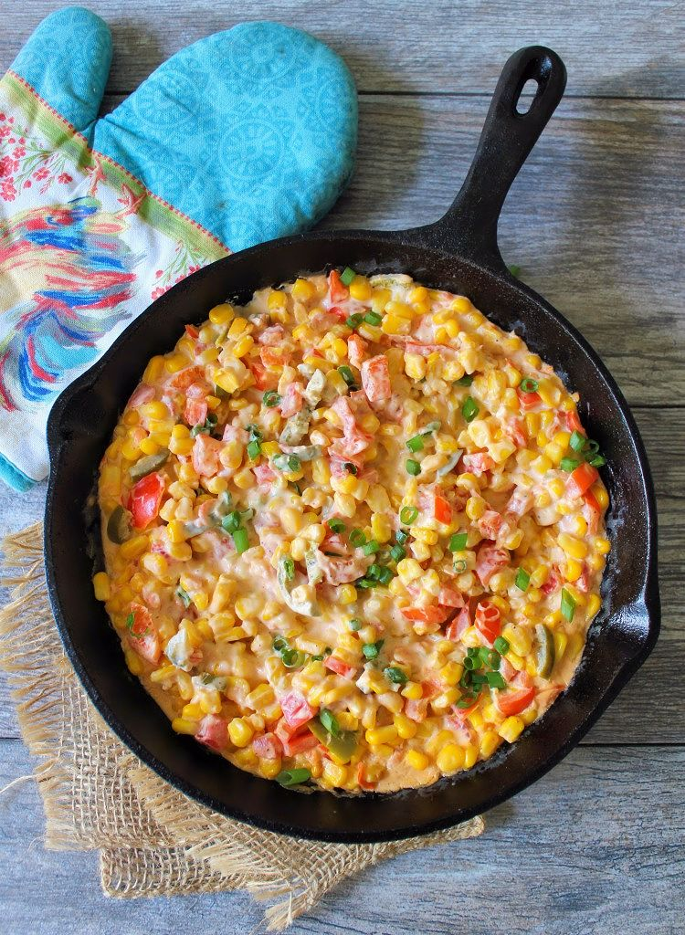 Southern Corn Dip will become one of your snaking downfalls, cream cheese, organic sweet corn, sweet red bell peppers, spicy pickled jalapeno peppers, unsalted butter, Ro-Tel tomatoes, and Cajun Spices come together for an Epic Appetizer that can be served on crunchy tortilla chips.