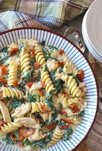 This flavorful Chicken Bacon Spinach Pasta recipe is tossed in a thick and creamy roasted garlic Parmesan sauce. It's a perfect combination of flavors and textures that will have you thinking that your eating at one of your favorite restaurants!