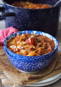 Deliciously filling Stuffed Cabbage Roll Soup has all the wonderful flavors of Classic Stuffed Cabbage Rolls, without all the work. It's hearty, beefy, and it's full of flavor. Made with lean ground beef, ground sausage, rice, green cabbage, and tomatoes sauce and cooked on the stovetop in about thirty-five minutes plus prep time.