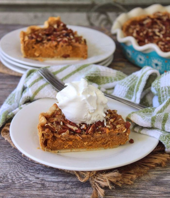 Nothing can say Southern hospitality more than this mouthwatering, decadent Sweet Potato Pecan Pie. Flavorful and delicious to the very last bite.