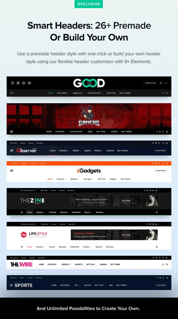 Premade Headers and Builder