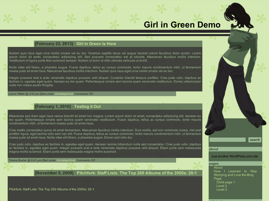 Screenshot of the Girl in Green theme