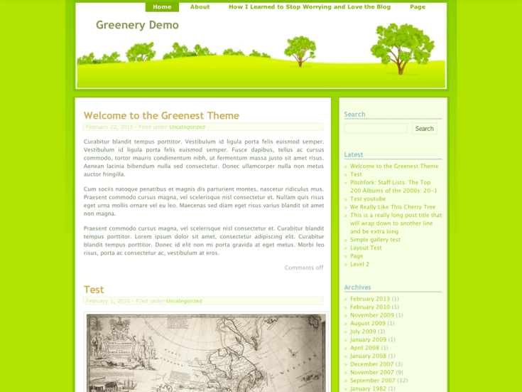 Screenshot of the Greenery theme