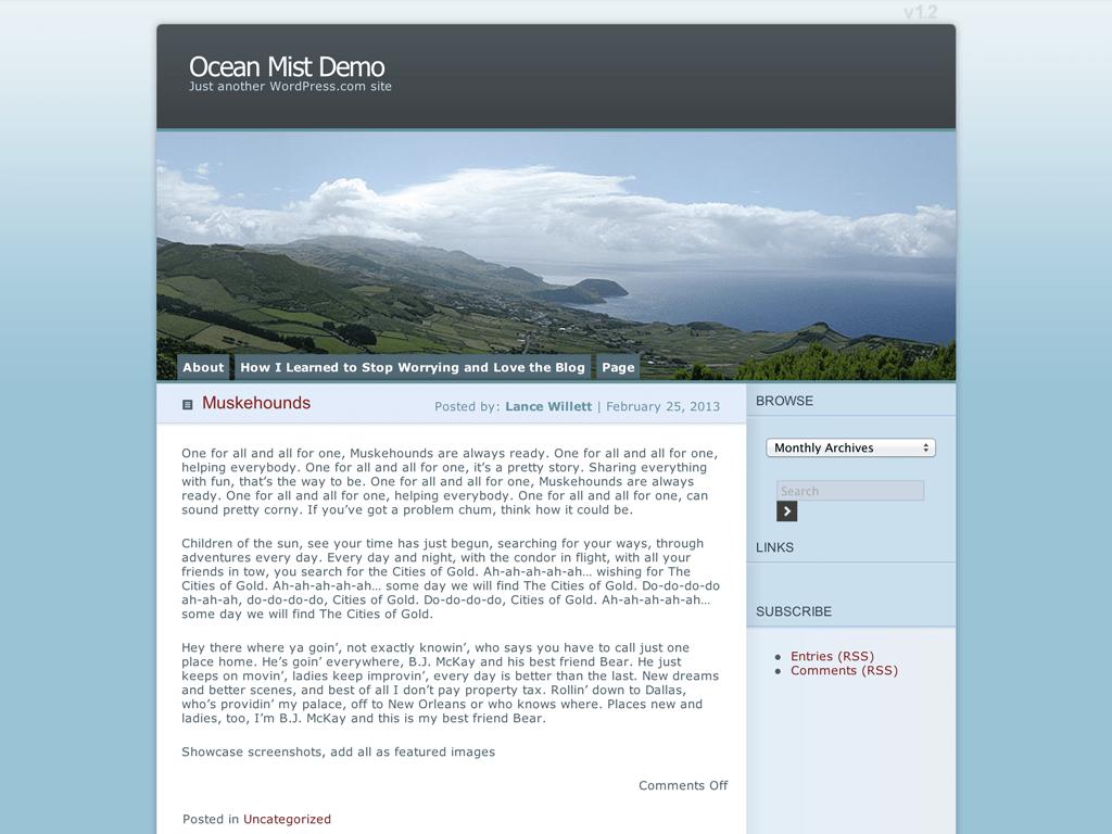 Screenshot of the Ocean Mist theme