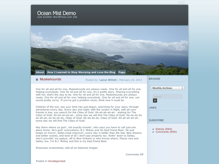 Screenshot of the Ocean Mist theme