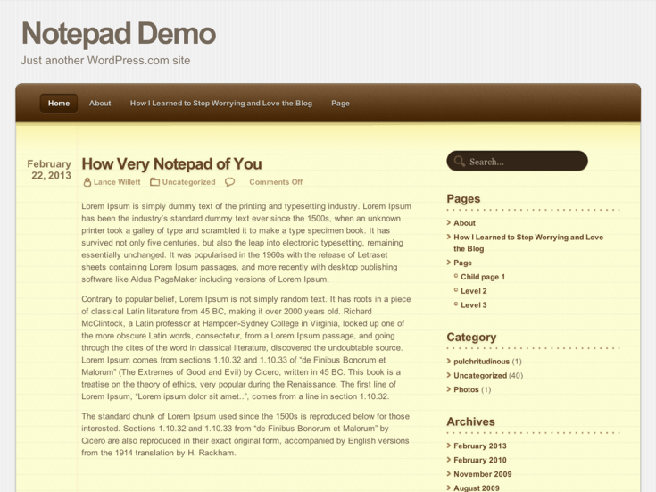 Screenshot of the Notepad theme