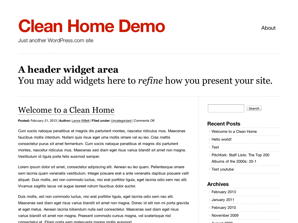 Clean Home WordPress Theme