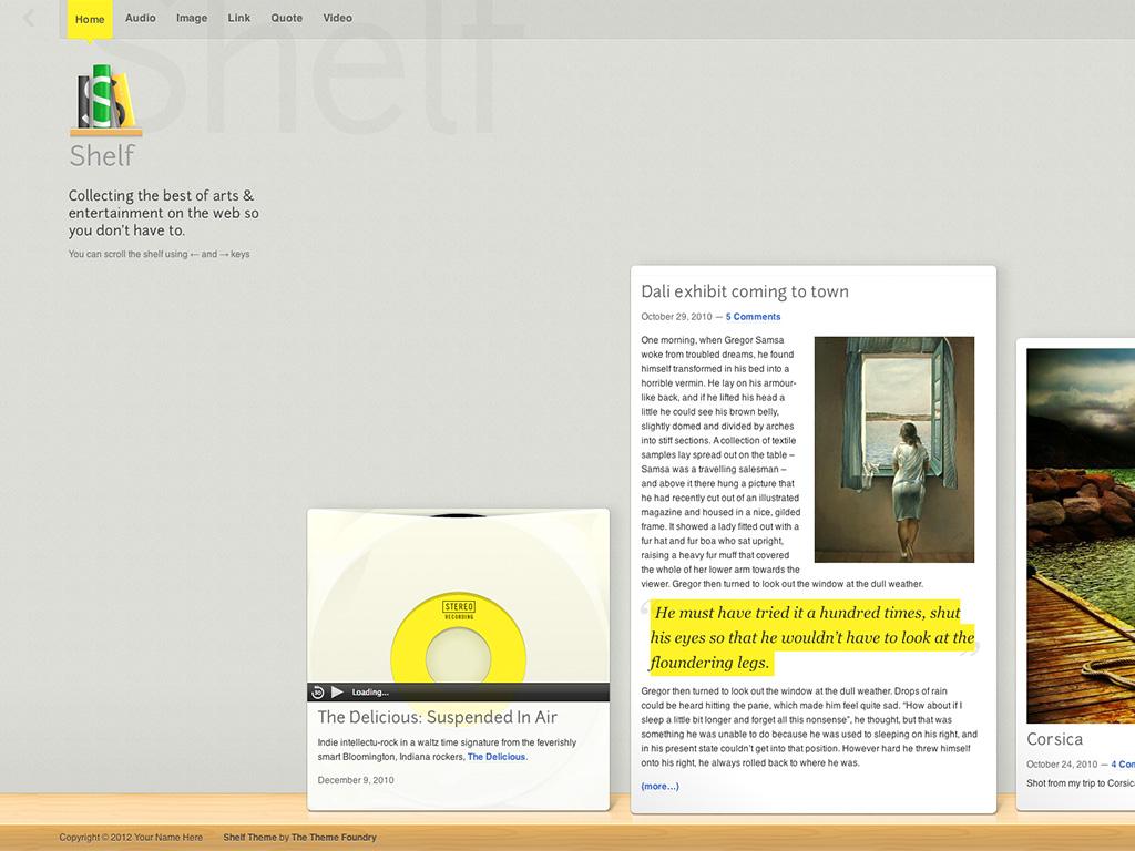 Screenshot of the Shelf theme