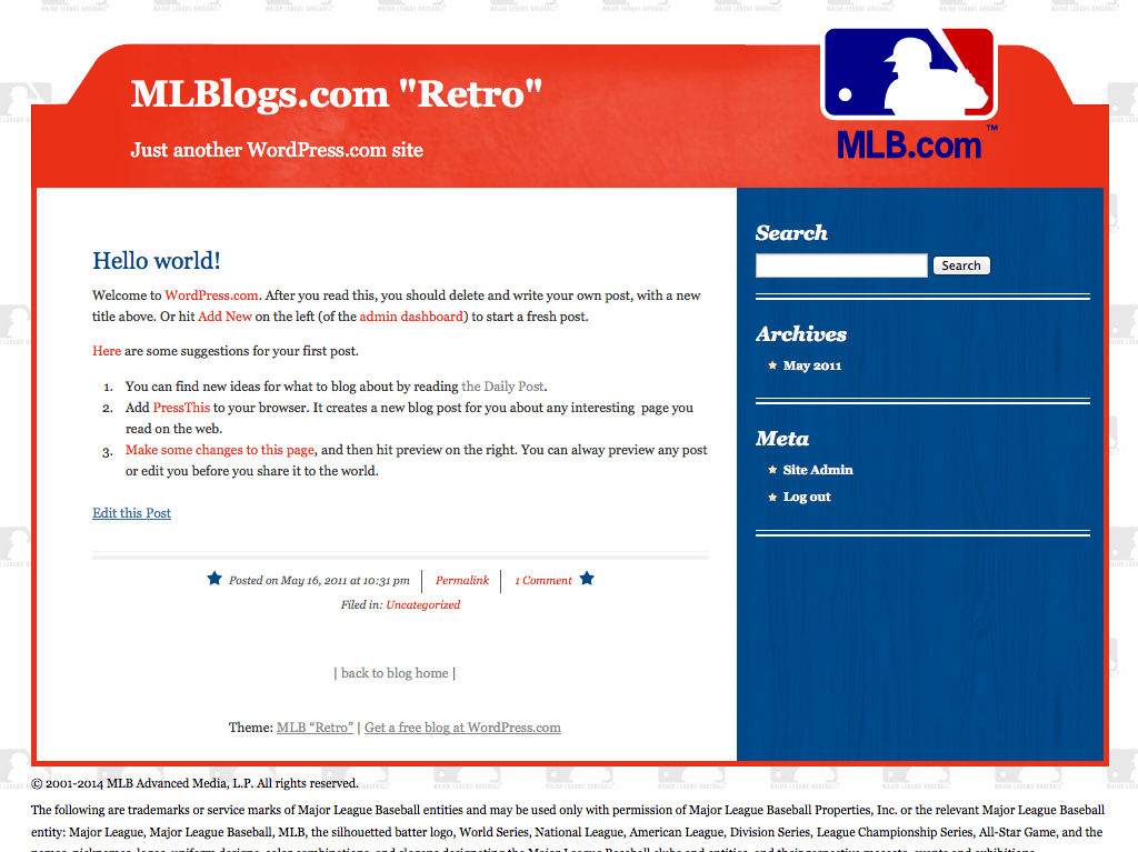 "MLB ""Retro"" WordPress Theme"