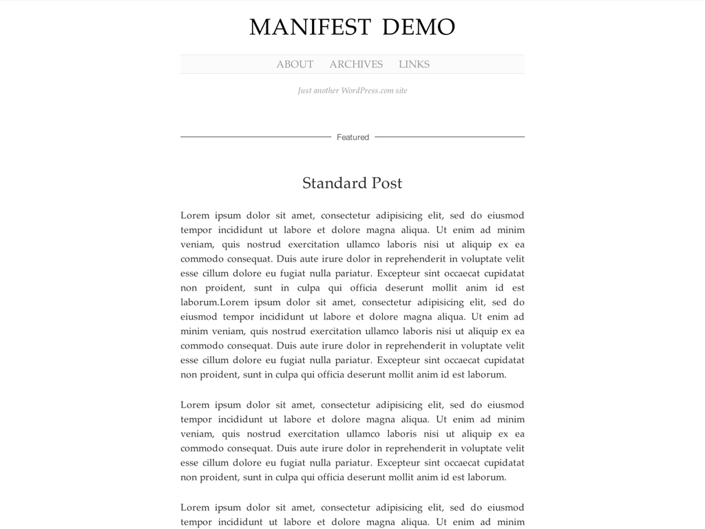 Screenshot of the Manifest theme