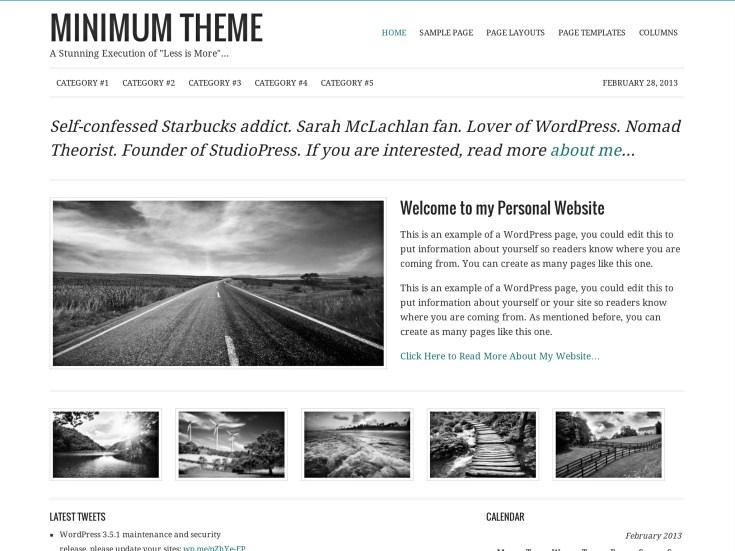 Screenshot of the Minimum theme