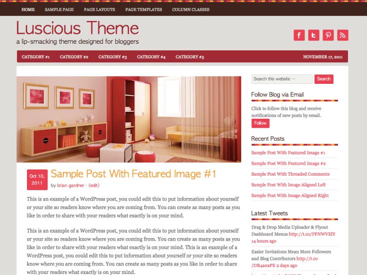 Screenshot of the Luscious theme