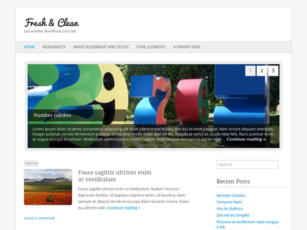 Screenshot of the Fresh & Clean theme